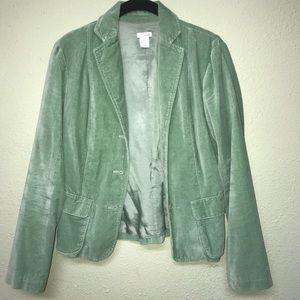 Anthropologie Odille Mint green velvet Blazer